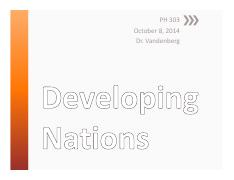 11 - Oct 8 - Developing Nations