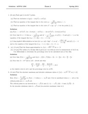 Exam 2 Solution Spring 2011 on Calculus 1 for Engineers