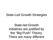 State-Led Growth Strategies