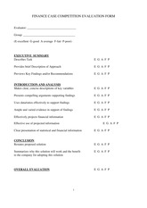 Case Competition Evaluation Form