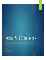 Learning Team A Section 508 Compliance WEEK 3