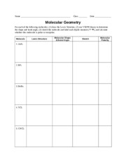 Printables Molecular Geometry Worksheet worksheet molecular geometry molecule lewis structure shape