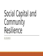 Social Capital and Community Resilience 20150115