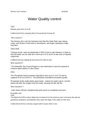 Water Quality control Lake Grace