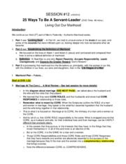 S12 - 25 Ways To Be A Servant-Leader - DVD Notes