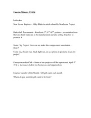 Enactus Minutes March 25 Notes