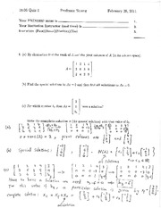 Exam 1 Solution Spring 2011 on Linear Algebra