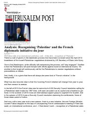 Herb Keinon-Recognizing 'Palestine' and the French diplomatic initiative du jour-Feb 2016
