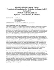 Special Topics_Psychological Foundations for Designing for Impact in HCI__Kaufman_Spring 2016 Syllab