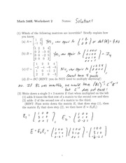 Worksheet 2 Solution Spring 2015 on Matrices and matrix calculations