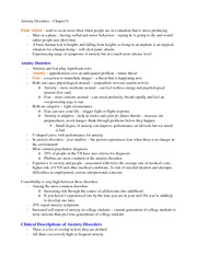 Anxiety Disorders Outline