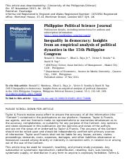 Mendoza, Ronald - Inequality in Democracy Insights from an Empirical Analysis of Political Dynasties