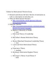 Outline for Motivational Theories Essay.docx
