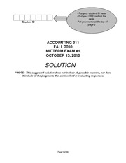 ACCT311 Accounting midterm 1 with solutions 2010