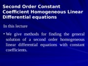 05 Second Order Constant Coefficients