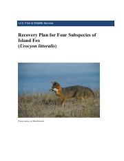 Recovery Plan for Four Subspecies of Island Fox_2-27-15 final