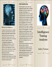 intelligence testing article analysis wk 3 Psy 450 week 2 intelligence testing article analysis use the electronic reserve readings, the university library, or other resources to locate at least three articles concerning intelligence testing.