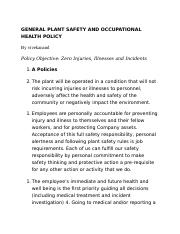 GENERAL PLANT SAFETY AND OCCUPATIONAL HEALTH POLICY.docx