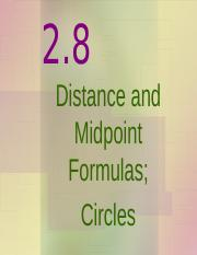 2.8 Distance and Midpoint Formulas Circle.ppt