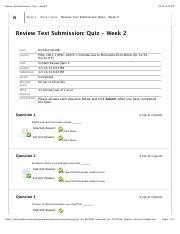 Review Test Submission: Quiz - Week 2