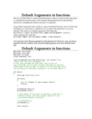 Default Arguments in functions