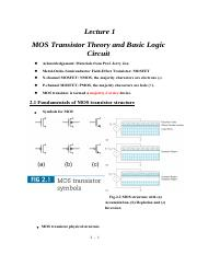 Lecture 1 MOS transistor theory and basic logic circuit