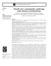 Small Community Policing