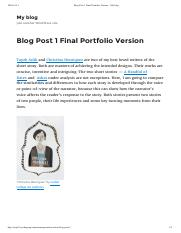 Blog Post 1 Final Portfolio Version – My blog