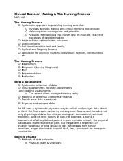 Clinical Decision Making & The Nursing Process (lecture notes).docx