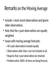 Remarks on the Moving Average