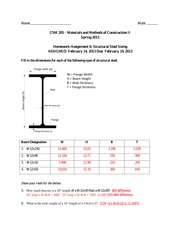 Answers_HW6-StructuralSteelSizing(1) - Name Mark CSM 205 Materials
