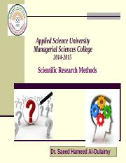 Scientific Research Methods Ch1