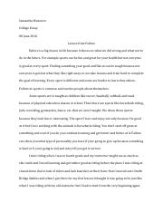 College Essay (A lesson from failure)