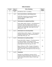 Reader - Table of Contents