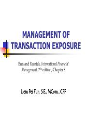 PPT Mgt Transaction Exposure