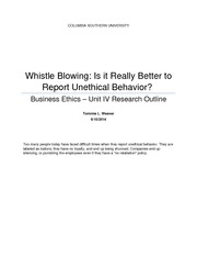 ethics whistleblowing essay Rutgers university journal of law and urban policy 1 vol 3 (2005) 74 whistleblowing and the police roberta ann johnson1 introduction most americans are familiar with whistleblowers, people who go public with.