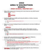 WILDLIFE HS KEY 2003.doc