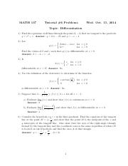 Math 137-Tutorial #6 Problems