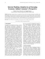 Internet Banking Adoption in an Emerging Economy Indian Consumers Perspective