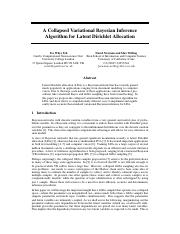 A Collapsed Variational Bayesian Inference for LDA