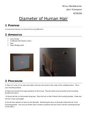 Diameter of Human Hair