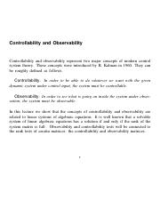 Controllability and Observability