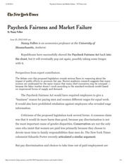 Paycheck Fairness and Market Failure - NYTimes