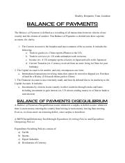 AICE Economics Balance of Payments Group Notes