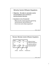 Lecture 11 - Minority Carrier Diffusion Equations and Quasi Fermi Levels