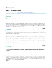 BBA 4951 Business Policy and Strategy Final Exam Questions 2014