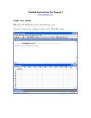 Minitab Instructions for Project 1