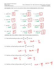 basic trig identities answers practice worksheet 1 basic identities of sines cosines and. Black Bedroom Furniture Sets. Home Design Ideas