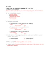 Chapter 10 Response Sheet - Answers