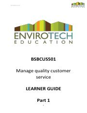 LEARNER GUIDE - BSBCUS501 - Manage quality customer service.pdf